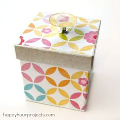 Adrianne at Happy Hour Projects used our knob making bases to create a cheap and easy to make homemade gift box.    Great job!