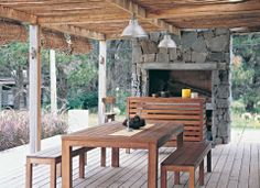 """I like how it's like out in the """"county wooded area """" Pergola, Outdoor Spaces, Outdoor Living, Outdoor Decor, Parrilla Exterior, Porch And Terrace, Gazebos, Porches, Weekend House"""