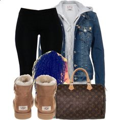 UGG BOOTS, A fashion look from October 2014 featuring True Religion, UGG Australia ankle booties and Louis Vuitton tote bags. Browse and shop related looks. Lazy Day Outfits, Outfits Casual, Chill Outfits, Cute Swag Outfits, Teen Fashion Outfits, Dope Outfits, Summer Outfits, Teenage Outfits, Womens Fashion
