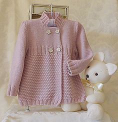 This sweet little girls 3/4 length double breasted jacket/coat is sure to be a winner, comfortable, cozy and very fashionable. I would class this pattern suitable for the beginner/ advanced beginner knitter. Stitches are knit, purl, cast on, cast off, K2 together and pick up stitches around neckline for collar.