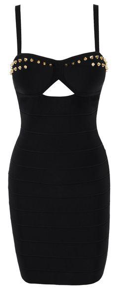 'Savannah' Black Studded Bandage Dress.