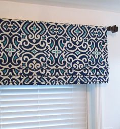 Robert Allen Faux Roman Shade   Lined Mock Valance  Navy/ Turquoise/ White Custom Sizing Available!