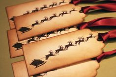 Christmas gift tags -  Sleigh Santa with his Reindeer- Vintage Appearance - set of 5. $6.50, via Etsy.