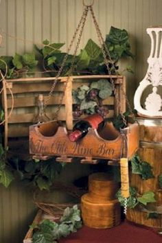 Primitive French Country OLD WINE BAR WOOD BOTTLE HOLDER Hanging Glass Rack Box. How great to have this hanging in the garden house with glasses hanging below. No need to go in the house when it's time to quit gardening! Hanging Wine Glass Rack, Wine Glass Holder, Wine Bottle Holders, Wine In The Woods, Gazebo, Wooden Rack, Bottle Rack, Bottle Display, Glass Bottle
