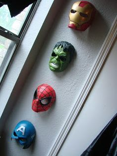 Superhero Masks-storage + wall art #kids