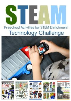 Connecting READING + MATH + Technology.  Find out how!!!!  STEAM Preschool Activities for STEM Enrichment Technology Challenge. A Free E-course for parents, teachers, and care-givers of preschool age children.  Geared for ages 3-5. PLUS technology book lists for kids and parents.