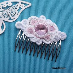 White & Powder Pink Soutache comb,  Wedding Hair Accessory, Soutache , Wedding Hair