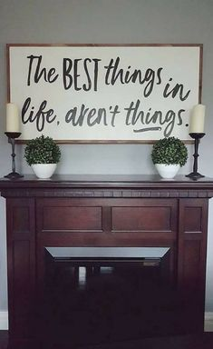 The best things in life aren't things, Farmhouse sign, Rustic sign, Rustic decor, Farmhouse decor, Home decor, Dining room decor, Living room wall art, gift idea #ad