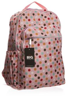 """Big Handbag Shop Unisex Zip Pockets Colourful Lightweight Large Travel Backpack Bag (147 Polka Dots Baby Pink 7). Zip opening along with two front pockets. These Cartoon bags in a nylon fabric are ideal fun bags for light use. Two small side pockets. Height 46 cm (18""""), width 31 cm (12""""), Depth 13 cm (5""""), Weight 350 grams (0.77 Pound). Small handle at the top and adjustable padded shoulder strap. Fully lined Inside with a zip pocket on back wall of bag."""