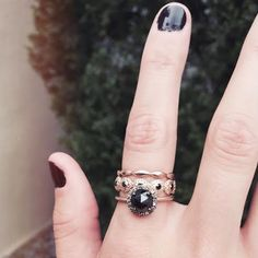 Stacking rings with a rosecut black diamond