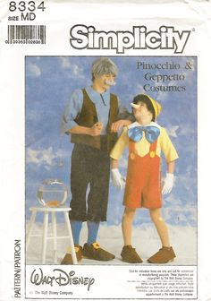 Simplicity 8334 Adult Pinoccio and Geppeto 80s by Denisecraft