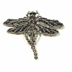 Black & Smokey Austrian Rhinestone Dragonfly Antique Silver-Plated Brooch Pin Fashion Jewelry. $14.95. Save 75% Off!
