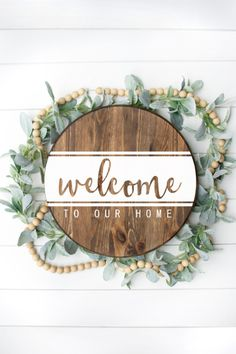 Welcome to Our Home SVG, Silhouette File, & Print - Perfect for Rounds Wooden Door Signs, Diy Wood Signs, Wooden Door Hangers, Wood Signs Home Decor, Rustic Wood Signs, Home Signs, Welcome Signs Front Door, Front Door Decor, Wooden Welcome Signs