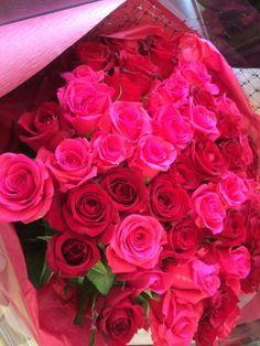 赤×ピンクのバラのみの花束