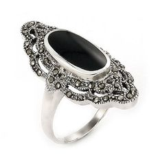 Black onyx and marcasite in sterling silver.