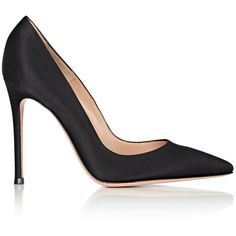 """Gianvito Rossi Women's \""""Gianvito\"""" Satin Pumps (31,320 DOP) ❤ liked on Polyvore featuring shoes, pumps, black, pointed toe high heel pumps, black satin pumps, pointy toe pumps, black satin shoes and black pointed-toe pumps"""