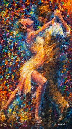 "Dancing Couple Wall Art Dancers Painting On Canvas By Leonid Afremov - Dance Of Struggle. Size: 24"" x 40"" inches (60 cm x 100 cm)"