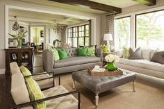 Contemporary Living Room Interior Design Ideas - Taking colors directly from the garden: green floral and striped prints add a pop of color to this otherwise neutral living room. Coastal Living Rooms, Living Room Green, Living Room Interior, Home And Living, Living Room Furniture, Living Room Decor, Small Living, Dining Room, Gray Furniture