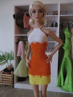 Candy Corn III Dress by WatbettyOriginals on Etsy Barbie Top, Barbie Hair, Barbie And Ken, Barbie Dress, Barbie Style, Crochet Barbie Clothes, Baby Doll Clothes, Barbie Wardrobe, Barbie Basics