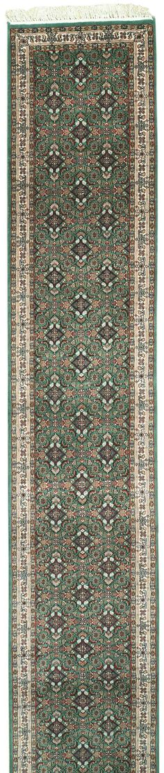 Handmade and knotted rectangular Persian Bijar runner area rug with intricate designs in green with beige accents, 2x19. Imported from India with wool. Free Shipping within the US.