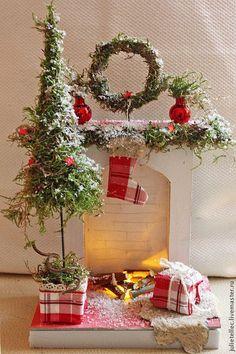 Рождественский камин Н - ярко-красный,подсвечник новогодний,камин,миниатюра