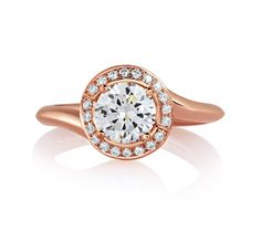 Rose Gold Swirl Diamond With Natural Pink Diamonds Embedded In Signature