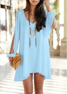 Chic V Neck Lantern Sleeve Blue Mini Dress for a stroll on the beach!