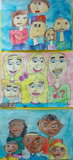 Apex Elementary Art: we are family. Family Drawing, Drawing For Kids, Art For Kids, Kid Art, Family Art Projects, 4th Grade Art, Grade 2, Mother Art, Ecole Art