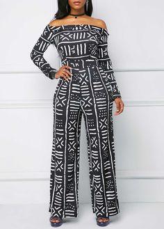 4baeca3d456 Black Printed Off The Shoulder Long Sleeve Jumpsuit Long Sleeve Off the  Shoulder Printed Jumpsuit