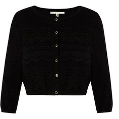 Uttam Boutique Mixed Lace Cropped Cardigan ($48) ❤ liked on Polyvore featuring tops, cardigans, black, clearance, lace top, long sleeve cropped cardigan, long sleeve tops, cardigan top and long sleeve crop top