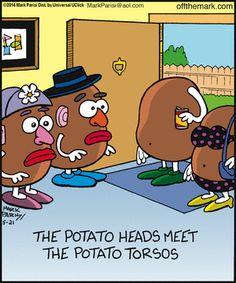 Off the Mark Funny Cartoons, Funny Memes, Hilarious, Jokes, Cartoon Humor, Funny Cartoon Pictures, Cute Cartoon, Potato Funny, Potato Humor