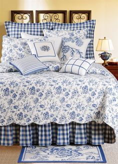 Devon Lake is a beautiful classic blue bed set from the design houses at Williamsburg. The floral on the quilt and shams is finely detailed. The bedskirts and euro shams are in a beautiful check. Blue Rooms, White Bedroom, Quilt Bedding, Blue Bedding, Blue And White Bedding, Quilt Pillow, Pillow Shams, Suites, White Decor