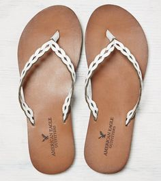 AEO Etched Leather Flip Flop