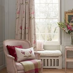 Susie Watson offers a charming and traditional range of fabric designs, feauturing vintage, country patterns with a homemade feel Cottage Curtains, Bedroom Curtains, Susie Watson, Cottage Living Rooms, Floral Curtains, Curtains With Blinds, Bedroom Colors, Inspired Homes, Soft Furnishings