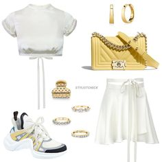 Kpop Fashion Outfits, Korean Outfits, Star Fashion, Cute Comfy Outfits, Cool Outfits, Casual Outfits, Skirt And Top Set, Fashion Books, Polyvore Outfits