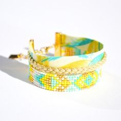 Bracelet manchette tissage miyuki jaune, turquoise, blanc et doré, ruban palmier et tresse doré -Bijoux ENORA-