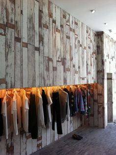 Scrapwood Wallpaper (PHE-02) by Piet Hein Eek. Recently displayed in a fashion store.