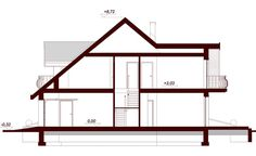 DN Karen is a house with an attic, basement with garage single user in a block building. The project is. Dream Home Design, House Design, Building A Container Home, House Plans, Villa, Wolf Wallpaper, Cottage, How To Plan, Architecture