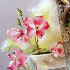 Pink Flowers in a vase still life Original Soft Pastels