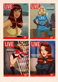 Superhero magazine covers by Des Taylor
