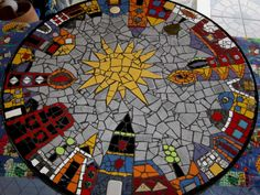 "Mosaic Art Diverse City Series piece by ringmosaics on EtsyHouse mosaics on stairs create streets!""Around the Town"" - as I call it - mosaic - Salvabrani Mosaic Artwork, Mosaic Wall, Mosaic Glass, Mosaic Tiles, Mosaic Art Projects, Mosaic Crafts, Mosaic Madness, Mosaic Designs, Mosaic Patterns"
