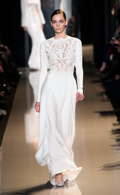 Something Different: long sleeves and lace bodice, perhaps for a winter wedding?  Elie Saab - 2013 Spring/Summer