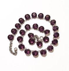 Amethyst Crystal Necklace Art Deco Necklace Purple Crystal