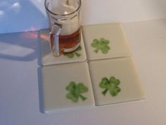 Let's Party! Glass Shamrock Coasters for Saint Patrick's Day. Fused by chelkay.