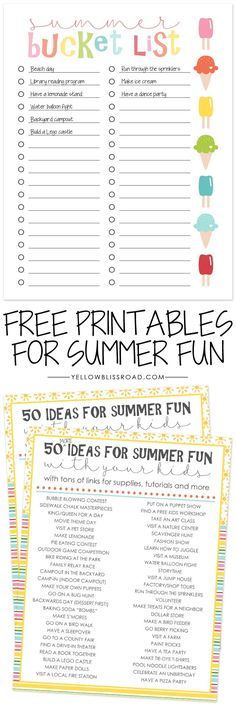 Summer Bucket List with 100 Summer Ideas