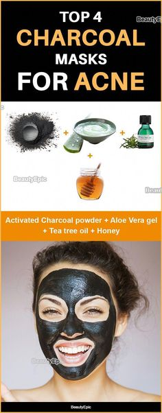 Top 4 Charcoal Masks for Acne #SkinCareMasks Face Scrub Homemade, Homemade Face Masks, Charcoal Mask For Acne, Homemade Charcoal Mask, Aloe Vera Powder, Acne Face Mask, Face Skin, Coconut Oil For Face, Acne Scar Removal
