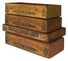 Lot Four Seed Boxes - Willis Henry Auctions, Inc. Old Tool Boxes, Old Wooden Boxes, Wood Boxes, Vintage Crates, Vintage Farm, Vintage Wood, Vintage Seed Packets, Old Baskets, Wood Chest