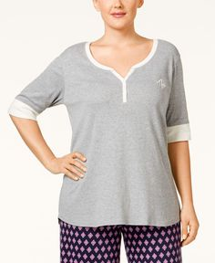 Tommy Hilfiger Plus Size Logo Henley Pajama Top