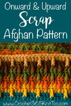Love this Onward and Upward Scrap Afghan yarn stash busting project! The Onward and Upward Scrap Afghan Project is a easy to memorize stash busting crochet afghan pattern. Great for using up leftover yarn. Scrap Yarn Crochet, Diy Crochet, Crochet Crafts, Knitting Yarn, Crochet Projects, Yarn Crafts, Crochet Owls, Crochet Mandala, Crochet Animals