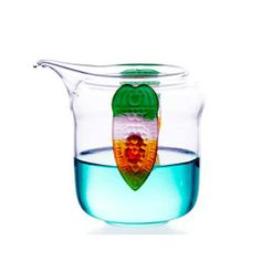 Glass Serving Pitcher with Colored Glaze Handle-Colourful Wings Enjoy / Slow / Green